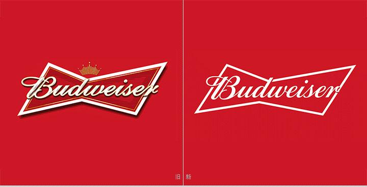 百威啤酒新旧logo对比